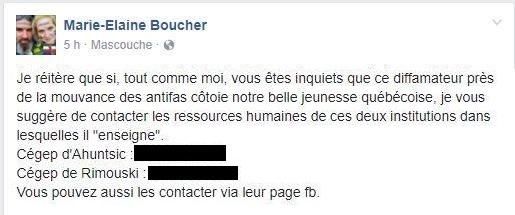 z4b louise menaces Marie-Élaine Boucher menaces