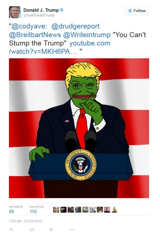 trump re tweeted Pepe 13 oct 2015