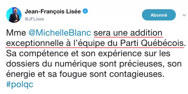 z1a tweet d'appui de Lisée 11 mai