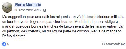 z3c faire manger du bacon aux migrants