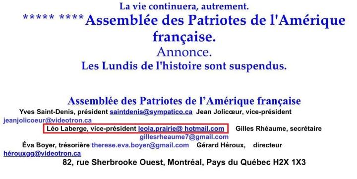 léo laberge Assemblée des patriotes de l'Amérique française2 courriel